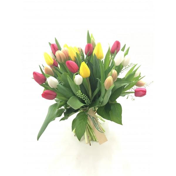Bouquet  de tulipanes multicolor