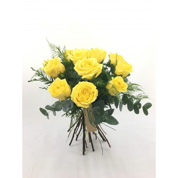 Bouquet 12/18 rosas amarillas cortas