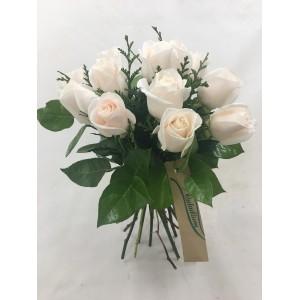 Bouquet 12/18 rosas blancas cortas