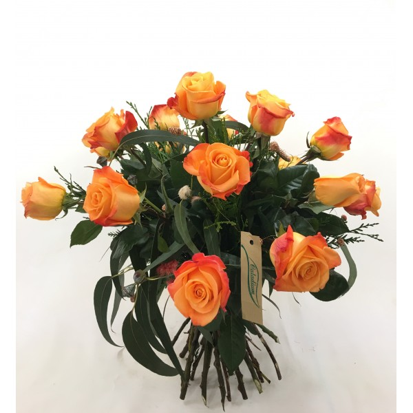 Ramo 12/ 18 rosas naranjas