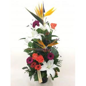Centro flores vertical colores vivos