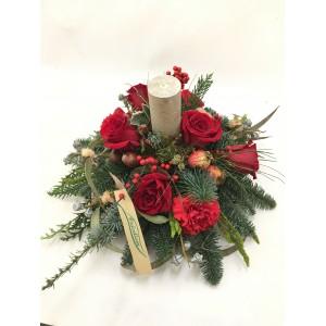 Centro de mesa redondo navideño