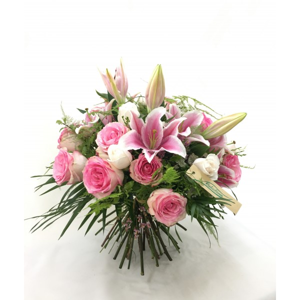 Ramo lilium oriental y rosas rosa RVROS10