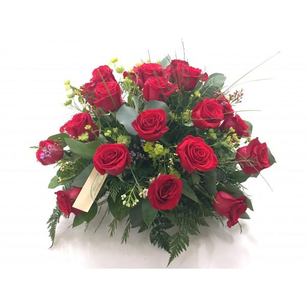 Centro redondo rosas rojas
