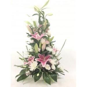 Centro flores vertical tonos rosáceos