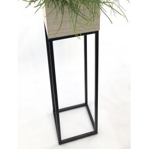 Pedestal de aluminio con cubremacetas de madera