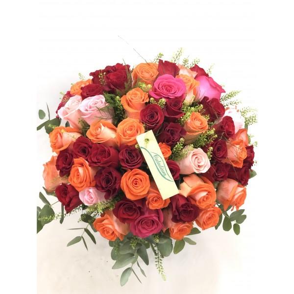 Gran ramo 60 rosas multicolor